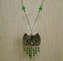 Upcycled Metal Owl and Green Crystal Necklace by LoveLeeLunacy