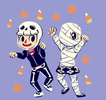 Mr. Skeleton and Ms. Mummy by cosmic-radiation