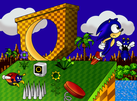 Sonic in Green Hill colored by sonictopfan