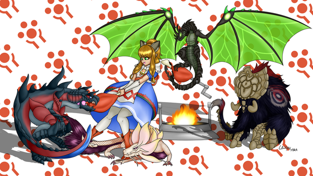 MHGen meowstress and baby fated four by Meteorimpact