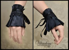Little black gothic cuff bracelet by vilindery