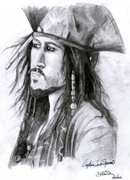 Cptn. Jack Sparrow - Pencil Study by pencilandpaperaddict