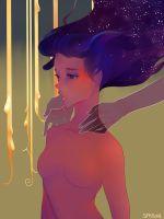 her hair is a starry sky btw by Saylor-boo