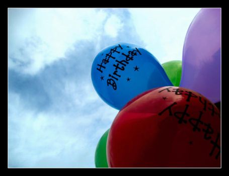 Happy Birthday with balloons by pink4u