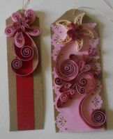 2 Pink Quilled Bookmarks by staceysmile