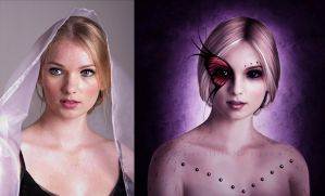 Portrait of a Butterfly - Before and After by MorriganArt