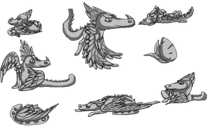 Feathered Reptile pose set (Purchase available) by TranquilityBlue
