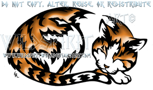 Sleeping Orange Tabby Tribal Design by WildSpiritWolf