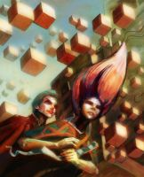 invasion of floating cubes by saramondo
