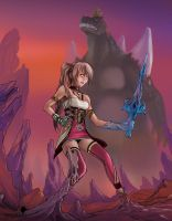 Serah vs Space Godzilla by Apocallisti