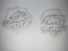 HP House Crests: Hufflepuff and Gryffindor by benshark92