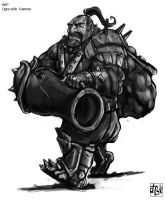 Warhammer - Ogre with cannon by atryl