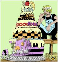 Sanji and cake by AneaKitsu