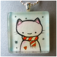 Winter Cat Glass Pendant by cellsdividing