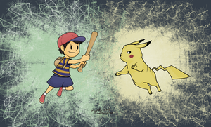 Ness VS. Pikachu by MintyDreams7