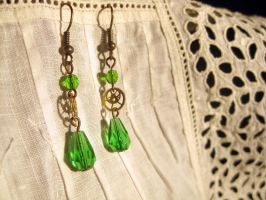 Green steampunk double gear earrings by ProfessorBats