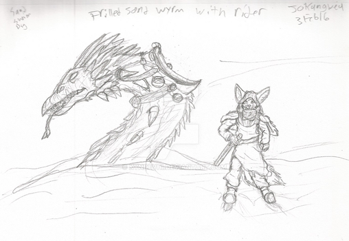 Sand Wyrm and Rider by Fox-Superior