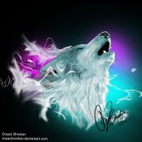 Northern Lights Wolf Spirit by OceanBrooker