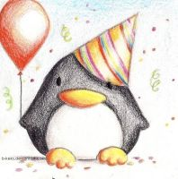 Birthday Penguin by B-Keks