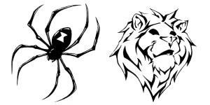 Tattoo Flash 1 Spider and Lion by BiggCaZ