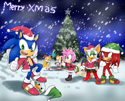 Merry chrismas Sonic the hedgehog by Kime-Cupcake