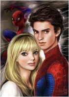 Amazing Spider-Man: Gwen and Peter by daekazu