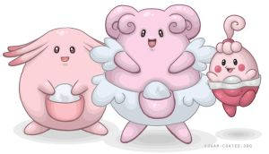 Happiny, Chansey + Blissey by sugar0coated