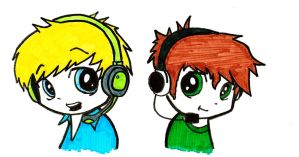 Pewdiepie And Tobuscus (Chibi) by Danyeltm
