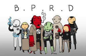 B.P.R.D. Team by LoonyBuffoon