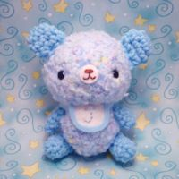 Baby Blue Bear with Custom Bib by amigurumikingdom