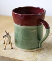 Handmade green and red mug by scarlet1800