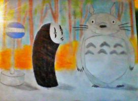 Totoro And No Face Bus-Stop Scene by TerrificTree