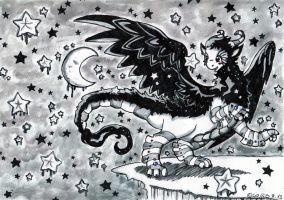 Pearl Dragon and a starry sky by Wollfisch