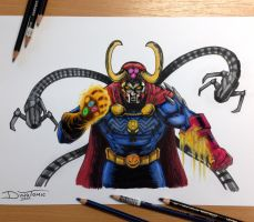 17 Villains Combined into one Pencil Drawing by AtomiccircuS