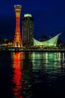 Port of Kobe by Night: Tower and Maritime Museum by red-trela