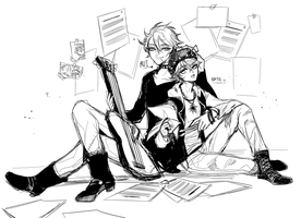 Rough commission : Skye and Rui by Byam