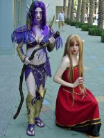 Night Elf and Blood Elf by popecerebus