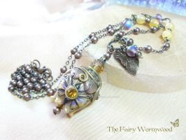 Fairy Blueberry Bloom Butterfly Necklace by EnchantedTokenArt