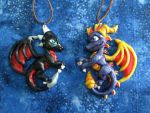 Spyro and Cynder Ornaments by DragonCid