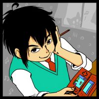 A schoolboy with DS by M-U-S-I-K