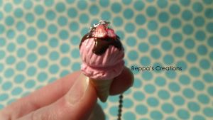 Strawberry Chocolate Ice Cream Necklace by BeppasCreations