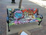 Park bench painted in iowa city by kettleart