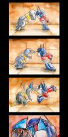 Grimlock vs. Prime by The-Starhorse