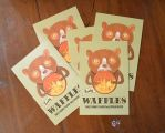 Waffle Bear Postcards by miorats