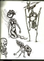 Character designs/doodle monsters by 6BanitKrawl6