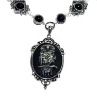 Steampunk Goth Jewelry Owl Necklace by CatherinetteRings