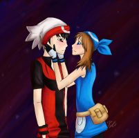 Love in ruby and sapphire gems by meroaw