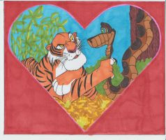 Kaa asking Shere Khan to be his Valentine by conradknightsocks