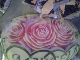 watermelon roses carving by Fire-Aqua-Stars97