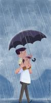 Dad and son in the rain... by jfsouzatoons